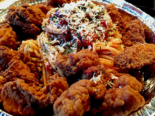 The BEST fried                                                 chicken EVER! Mama                                                 Green's Fried Chicken                                                 and Spaghetti inspired                                                 by The Last Dragon